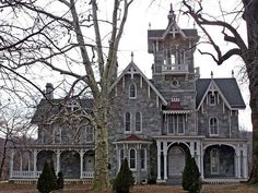 Fantastic carpenter gothic Victorian, the Lockwood Estate in Malvern, PA.  The stone is gorgeous, the architectural detail striking, and the center tower amazing.