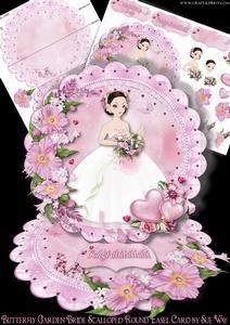Butterfly Garden Bride Scalloped Round Easel Card Mini Kit