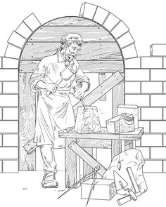 Profession by Anton Batov, via Behance Barbie Coloring Pages, Bear Coloring Pages, Fairy Coloring Pages, Free Adult Coloring Pages, Cool Coloring Pages, Coloring Books, Halloween Coloring Pictures, Farm Pictures, Bee Art