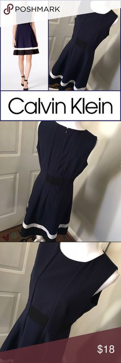 "🎉SALE🎉 Calvin Klein Size M Twilight Dress EUC Classic styling fit and flare dress from Calvin Klein in a size M which fits an 8-10. Dress is in EUC except my cousin cut out the size tag because her roommate would lend out her clothes to friends. It is also missing the skinny belt but you cannot tell. My cousin only wore once and did not wear the belt with it. Length from shoulder to hem is 38"", pit to pit flat across is 19"" and waist is 16"" flat across. Fabric is poly/rayon/spandex blend…"