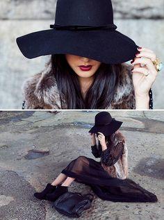 Dark hat + dark hair = lovn!