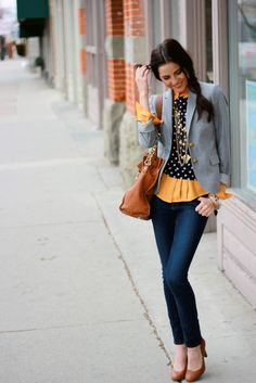 Love this outfit. The blazer, polka dots, heels and layering are perfect.