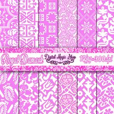 Digital Paper Pack ORCHID WEDDING Royal Damask  pink paper with by DigitalMagicShop, $2.50