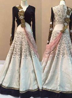 Off White Black Thread Resham Work Banglori Silk Georgette Wedding Lehenga Choli http://www.angelnx.com/