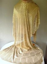 Magnificent Vtg 1920's Assuit Shawl Silver Metal Geometric Tulle Bi Telli Wrap