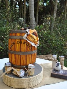 Whiskey barrel wedding cake with Little Tipsy Cakes  by The Cake Zone.