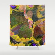 Floral patchwork(19). Shower Curtain by Mary Berg - $68.00 #showercurtains #society6 #bathroom #homedesign #yellow #green #colorfull #decorative #leaf