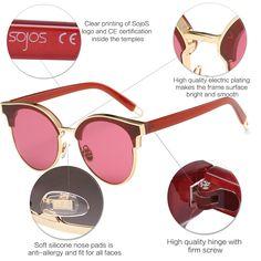 3d138d793d7ff SojoS Fashion Designer Cateye Women Sunglasses Oversized Shades Flat Lens  With Gold Frame Clear Burgundy Lens     Visit the image link more details.