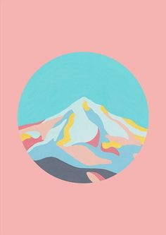 awesome Illustration / Mountainscape in Dusty Pink by The Adventures Of Co....