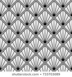 Art Deco Monochrome Seamless Arabic Black: image vectorielle de stock (libre de droits) 733703089