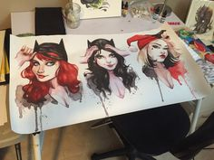 Batman Gotham Girls Banner Catwoman Harley Quinn by carlationsart