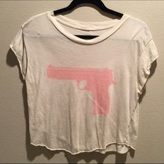 Brandy Melville pink gun crop top Super cute! Brandy Melville Tops