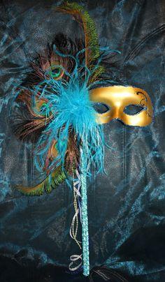 Peacock Feather Mardi Gras Mask via Etsy