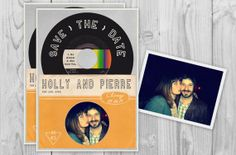 Vintage Records Save the Date by PAPERandPASTICHE, $1.50 { Hip Modern Vintage Cards Record Album 45 Mid Century Mod Colorful Grey Sleeve Photo Picture } #pasticheevents