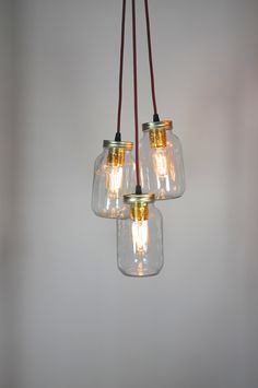 Jam Jar Chandelier with  3 jar drop available in any cable colour http://littlemillhouse.co.uk/index.php/new-8/3-jam-jar-chandelier.html £120.00