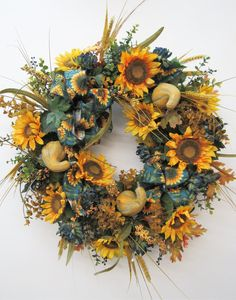 Gold Sunflower and Dark Blue Mum Fall Front Door Wreath/ Sunflower Wreath/ Fall Wreath/ Autumn Wreat Autumn Wreaths For Front Door, Fall Wreaths, Door Wreaths, Wreath Crafts, Diy Wreath, Homemade Wreaths, Sunflower Wreaths, Sunflower Print, Fall Harvest