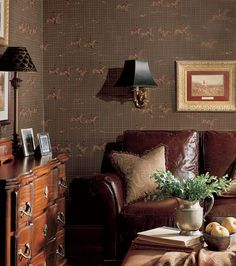 42 French Country Interior Design Pictures - A beautiful combination of different shades of brown and patterned wallpaper - French Country Interiors, English Country Decor, French Country Style, English Style, Modern Country, Country Interior Design, Interior Design Pictures, Interior Ideas, French Decor