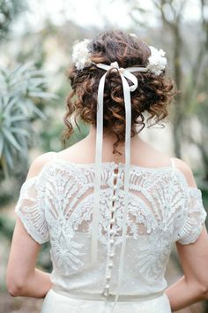 Gorgeous #dress and floral crown with bow | Photography: Monica Roy - www.monicaroy.com  Read More: http://www.stylemepretty.com/california-weddings/2014/05/03/rustic-garden-half-moon-bay-elopement/