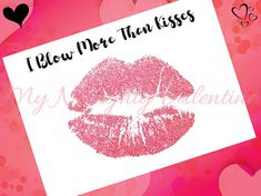 Blow More Than Kisses, Printable Naughty Card, Dirty Card Printable, Naughty Valentines Day Gift, Valentines Day Gift for Him, DIY Valentine - Give the special someone in your life a card they will never forget! Easy to print 5x7 one-sided card design for a postcard or card