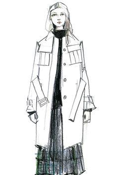Fashion illustration - fashion design sketch for Jil Sander Navy
