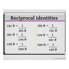 Trigonometry Poster: Reciprocal Identities