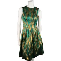 Michael Kors Size 4 Emerald & Gold Jacquard Cocktail Dress ($565) ❤ liked on Polyvore featuring dresses, gold jacquard dress, green dress, green color dress, emerald green cocktail dress and emerald dress
