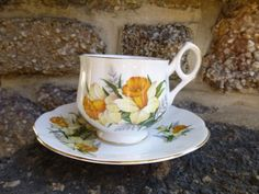 Tea Cup and Saucer   Flower of the month March by vintagepurveier