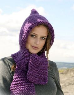 HOODED SCARF HAND KNITTED PURE ALPACA WOOL OTHER COLOR AVAILABLE  BONNET WITH…