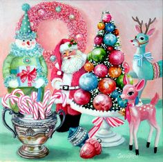 Candy Cane Christmas ~ A new painting for Christmas 2014. I love vintage Christmas decorations! Available at www.susanriosdesigns.com. xo