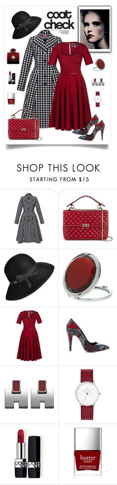 """""""Lena Hoschek Paris Checked Flared Coat & Dress Look"""" by romaboots-1 ❤ liked on Polyvore featuring Epoque, Lena Hoschek, Valentino, Betmar, Miss Selfridge, Christian Dior, Butter London and AMOUAGE"""