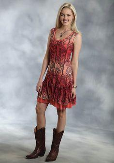 Roper® Coral Paisley Mesh Flounced Hem A-Line Western Dress