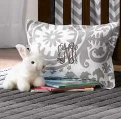 Monogrammed Gray Suzani Baby Pillow Sham - Liz and Roo Fine Baby Bedding. A great gift idea! We offer baby shams in a variety of designs and color to coordinate with all nursery designs! Finish it with a monogram for a personalized touch. Made in America!