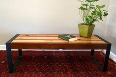 Modern Cedar Coffee Table With Handmade Metal Flat Bar Legs 375