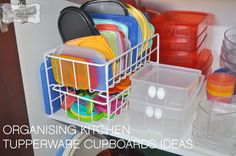 Ideas for organising kitchen tupperware / plastics cupboards. I totally need to try this cuz my husband complains that we are always losing lids to our tupperware!