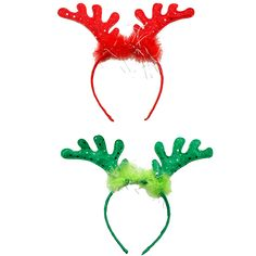 Wearable red or green antler headband for the holidays./Wally's Party Factory #Green #or #Red #Antler #Headband