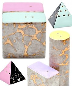 Marbled salt and pepper shakers with pastel colored accents, eek!