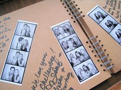 """Photo Booth Guest Book from my wedding - Do a photobooth guestbook at the wedding! I love the idea, and you could even jazz up the guestbook a bit beforehand with different pretty designed pages for a more """"scrapbook"""" type feel. Wedding Tips, Our Wedding, Dream Wedding, Wedding Favors, Decoration Evenementielle, Wedding Messages, Guest Book Alternatives, Here Comes The Bride, Wedding Guest Book"""