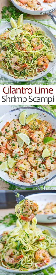 Shrimp in a tasty butter, garlic and lime sauce with plenty of fresh cilantro/coriander served on zucchini noodles!