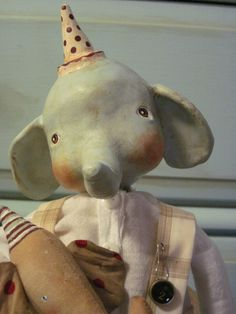 Primitive Vintage Inspired Paper Clay Elephant Doll