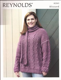 Easy Cabled Pullover & Scarf Reynolds Knitting by brokemarys