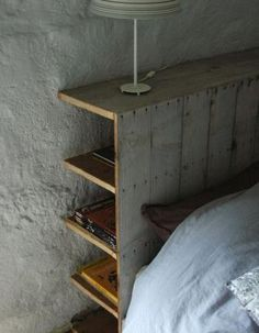 Love the hidden storage that this headboard has. Hidden storage behind the headboard. Great idea to go up the wall/headboard side of a platform bed. Maybe open up the opposite side under bed for shelving. Headboard With Shelves, Headboard Decor, Diy Headboards, Diy Storage Headboard, Rustic Wood Headboard, Bookcase Headboard, Bedroom Storage, Bed With Shelves, Headboards With Storage