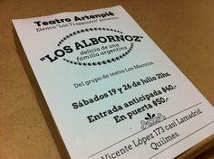 Parte de los últimos trabajos: diseño e impresión de folletos para Los Albornoz, obra super-recomendable en Artenpié