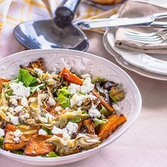 Roasted Pumpkin Salad - a recipe for a delicious roasted butternut squash salad with roasted artichokes and goats cheese.