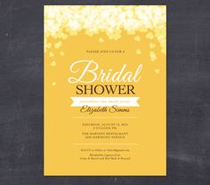 HEARTS & FLOWER PETALS Printable Bridal Shower Invitation - romantic bridal shower - beach bridal shower -yellow gold. $20.00, via Etsy.