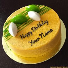 Delicious Round Mango Birthday Cake With Custom Name.Create Name Cake Online.Awesome Cake For Happy Birthday Wishes With Name.Write Friend Name on Cake Picture Birthday Cakes For Men, Lemon Birthday Cakes, Birthday Cake Write Name, Heart Birthday Cake, Birthday Wishes With Name, Yellow Birthday Cakes, Birthday Cake Writing, Happy Birthday Wishes Cake, Happy Birthday Cake Images