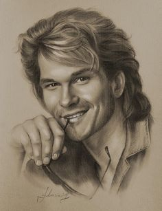 Pencil Portrait Celebrity Pencil Portraits - Patrick Swayze - Armed with graphite and beige paper, pencil-wielding Polish artist Krzysztof Lukasiewicz portrays famous faces. Here's a step-by-step of his drawing of George Clooney, from initial sketch to … Cool Pencil Drawings, Realistic Drawings, Pencil Art, Art Drawings, Horse Drawings, Drawing Sketches, Patrick Swayze, Celebrity Drawings, Celebrity Portraits
