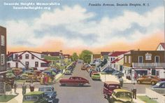 This is a Linen Postcard from the 1940s of Franklin & Ocean Avenues in Seaside Heights. The view is from the Boardwalk facing west looking down the street. Email this Card to a Friend!