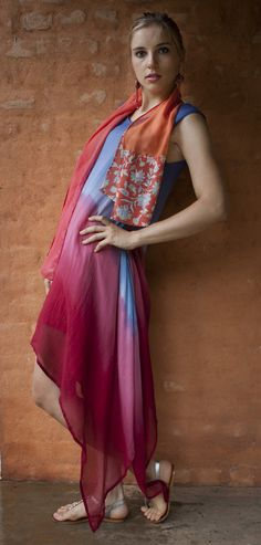 Ovidie silk dress, hand dyed, and a matching silk scarf :-)