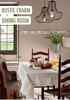 Painting your dining room in a gray color will create the perfect backdrop for a rustic, farmhouse-chic look. Try BEHR paint in Light French Gray and pair it with an industrial chandelier to start your makeover off right.