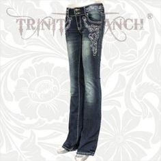 Dark Rhinestone Embellished Stretchy Hip Hugger Denim Jeans